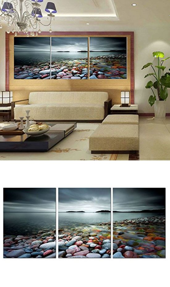 3 Panels - Colorful Stones | Easy Wall Art Ideas for Living Room | Creative Wall Decorating Ideas for Bedroom