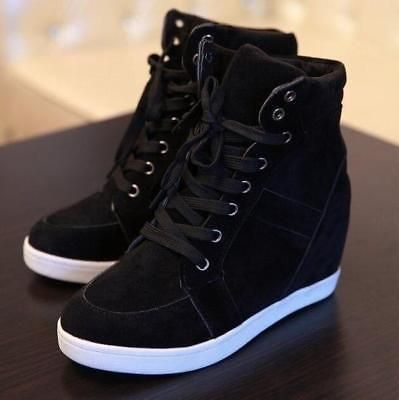 Womens Hidden Heel Lace Up Sneaker Shoes Casual Pumps High Top Wedge Ankle Boots | eBay