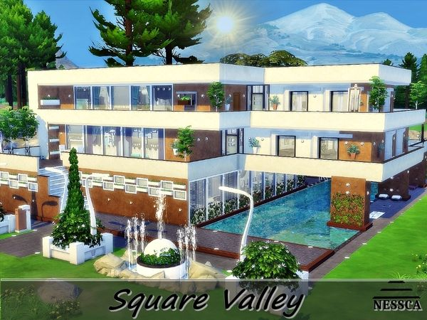 Square Valley house by Nessca at TSR • Sims 4 Updates