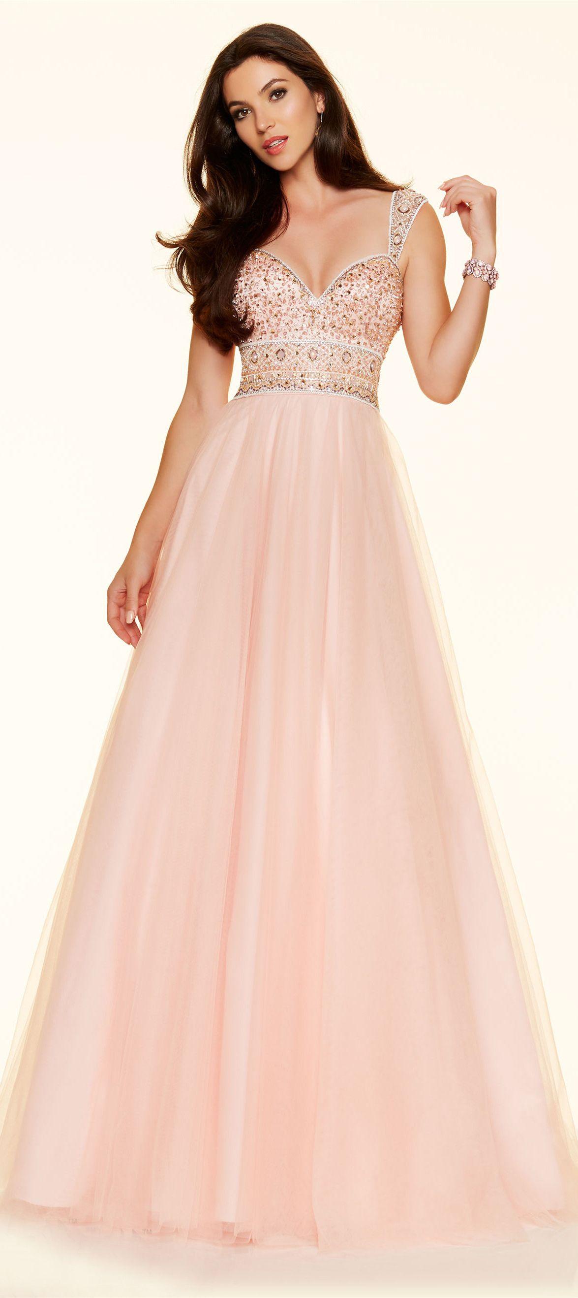 A line sweetheart open back long light pink tulle beaded prom dress