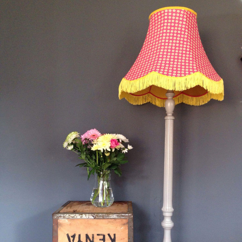 Standard Lamp Handmade Lampshade Pink Yellow Flowers Spots Floor
