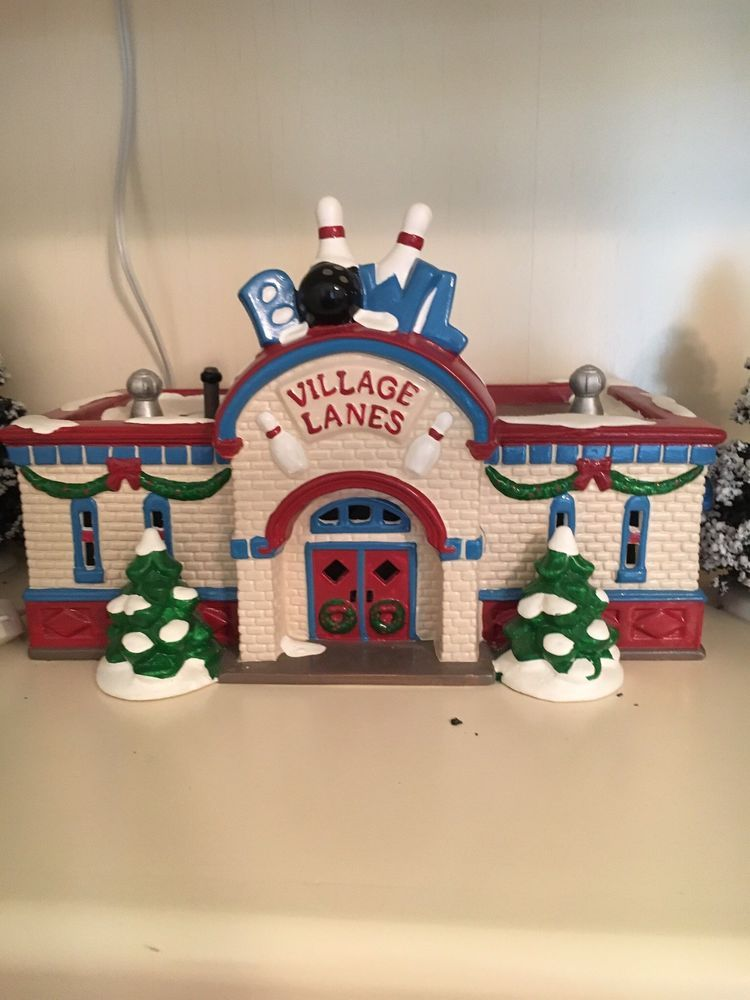 Amazon.com: Dept 56 Snow Village Bowling Alley #54858 ...  |Bowling Alley Snow