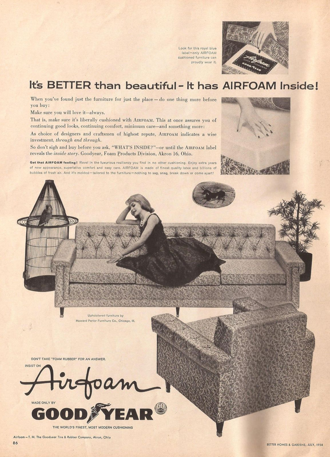 Airfoam GoodYear ad with Howard Parlor furniture from Better Homes and Gardens, July 1958