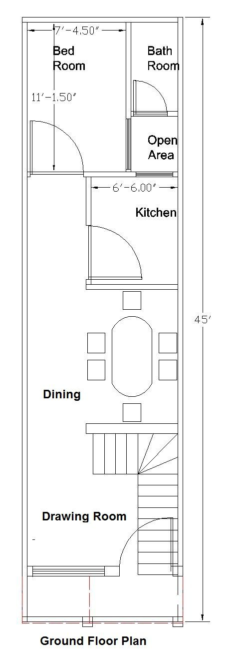 12x45 Feet Ground Floor Plan Floor Plan Design House Plans Free House Plans