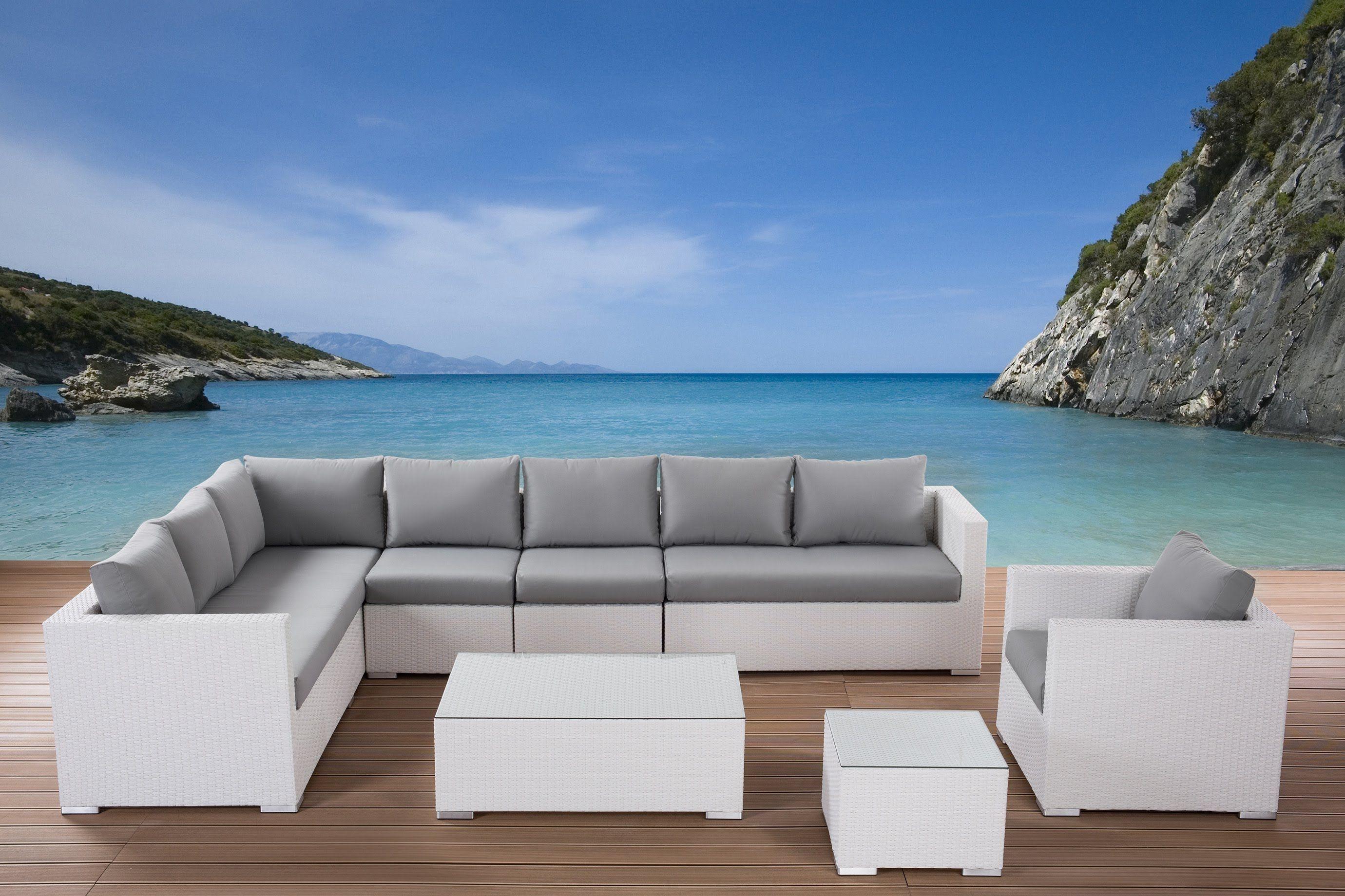 awesome white grey wood modern design garden furniture outdoor l - Rattan Garden Furniture L Shape