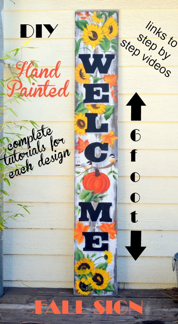 Hand Painted Welcome Sign For Fall Welcome Signs Front Door Diy Signs Hand Painted Signs