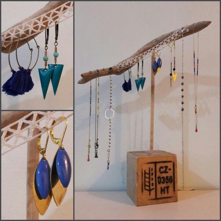 DIY Loisir créatif Portant à bijoux en bois flotté et bois de