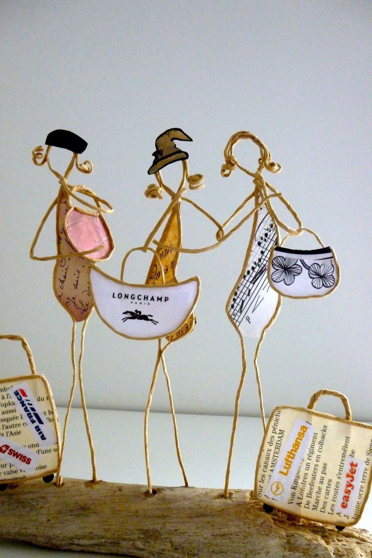 Les amies en voyage - figurines en ficelle et papier | Wire Art ...