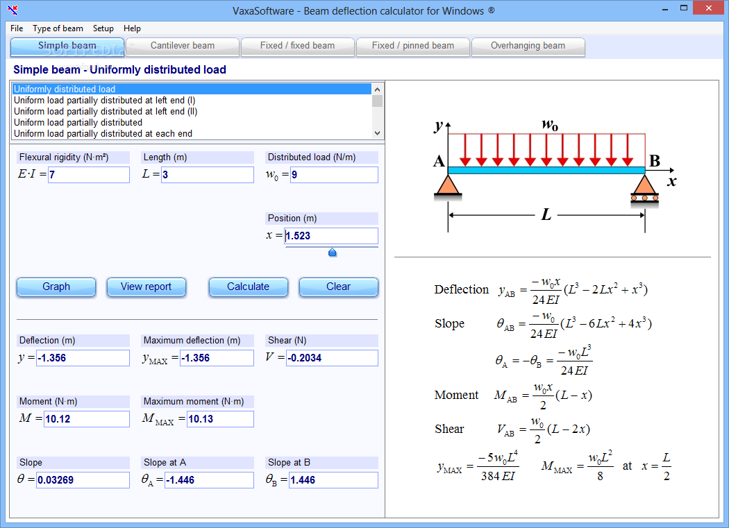 Free Download Beam Deflection Calculator For Windows 17 An Easy Bending Moment Diagram Cantilever Uniform Distributed Load To Use Application That Was