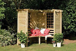 old shutters and windows repurposed into a sitting area!