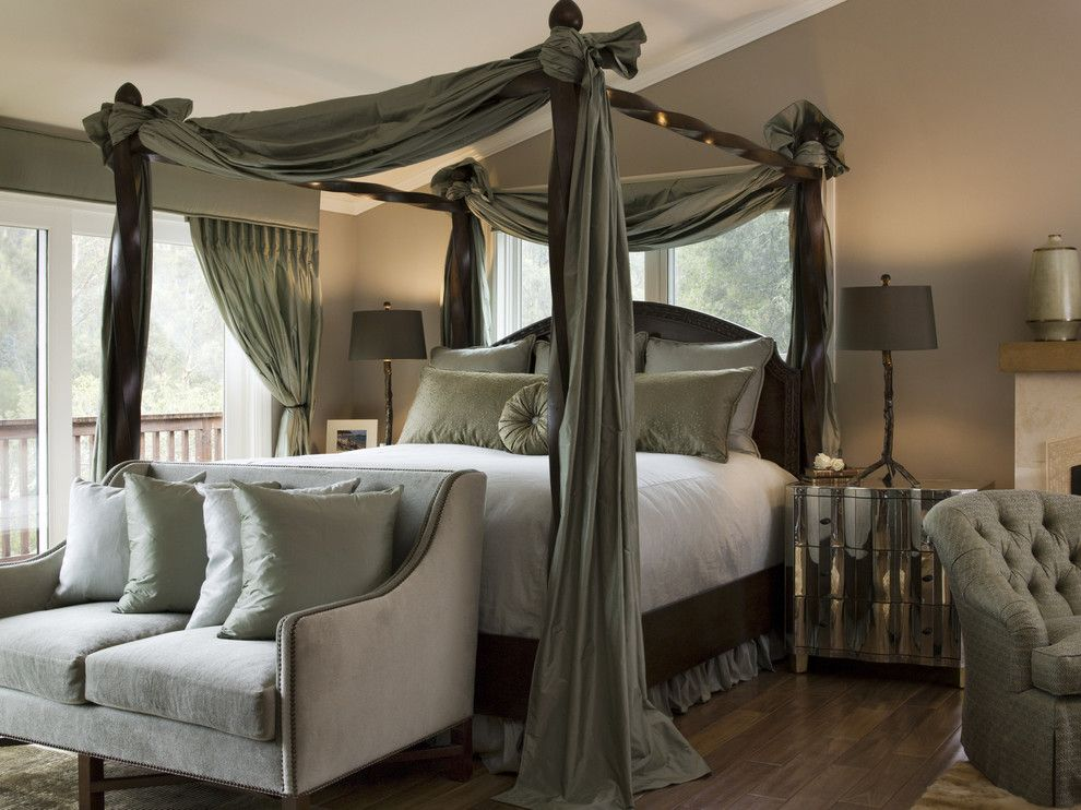 Canopy Bed With Mirrored Ceiling Bedroom Transitional With Light