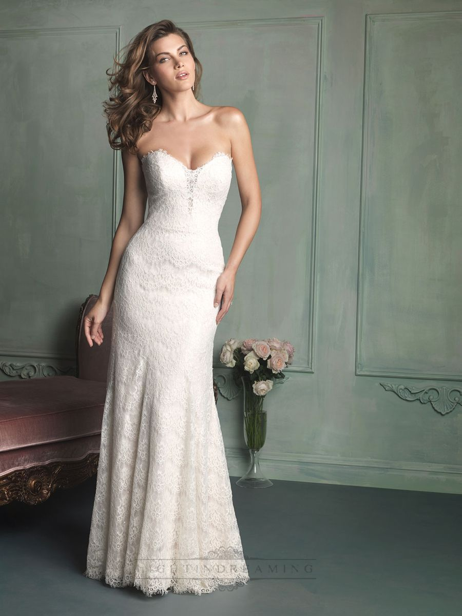 Simple Strapless Sweetheart Floor Length Lace Wedding Dress ...