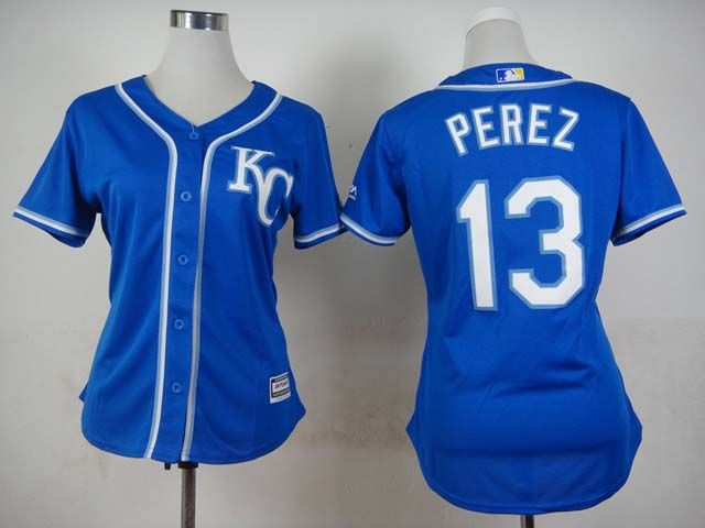 newest collection da05f fb22a Kansas City Royals #13 Salvador Perez Women's Stitched