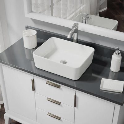 RenéByElkay Vitreous China Rectangular Vessel Bathroom Sink with