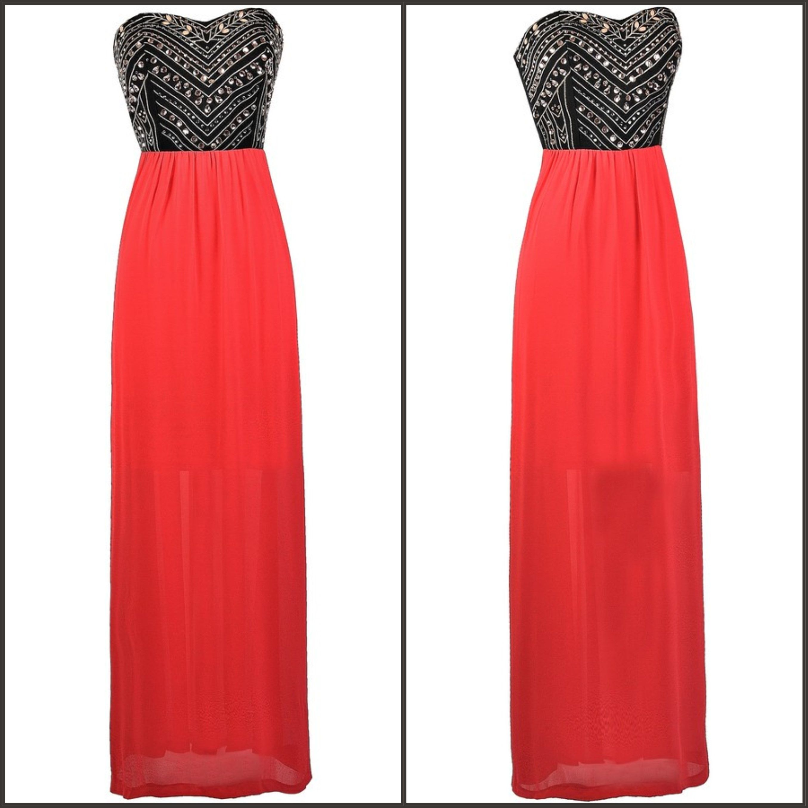 This coral red maxi dress has bold embellishments at the bust