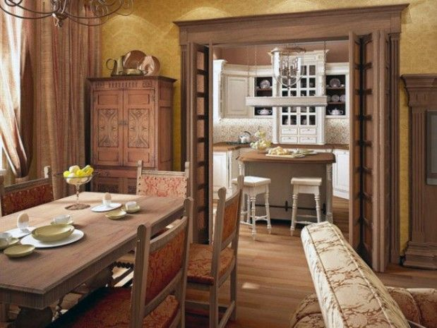 Old English Homes | ... Old Dining Room And Kitchen Area Classic Wooden  House