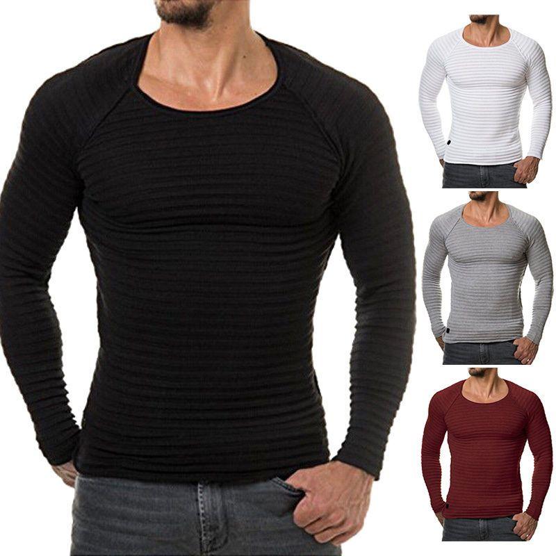 Men/'s Long Sleeve Plain Muscle Tee Slim Fit T-Shirts Casual Tops Blouse Shirt
