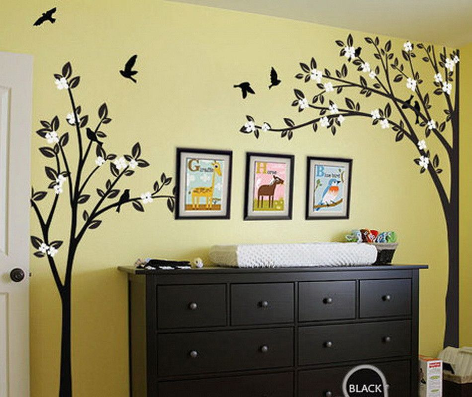Corner Two Trees Bird Flower Blossom Wall Decals Nursery Decor Kids ...