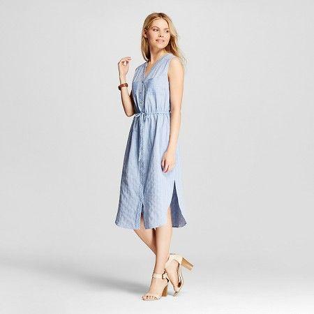 Women's Railroad Striped Lightweight Denim Shirt Dress w/Tie Belt - Spenser Jeremy : Target