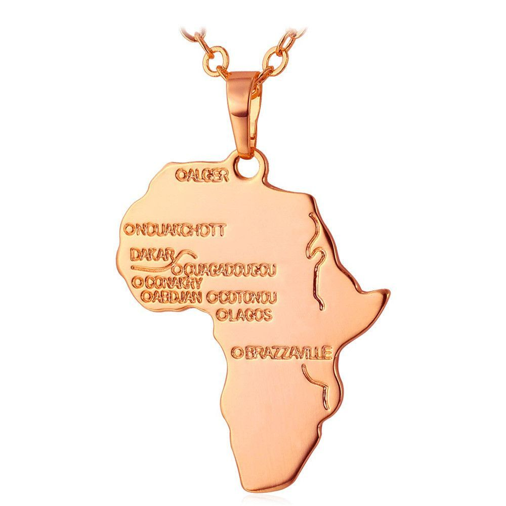 New African Necklace Yellow Gold/Platinum Plated Africa Map Pendant & Chain Men/Women Ethnic Jewelry Gift