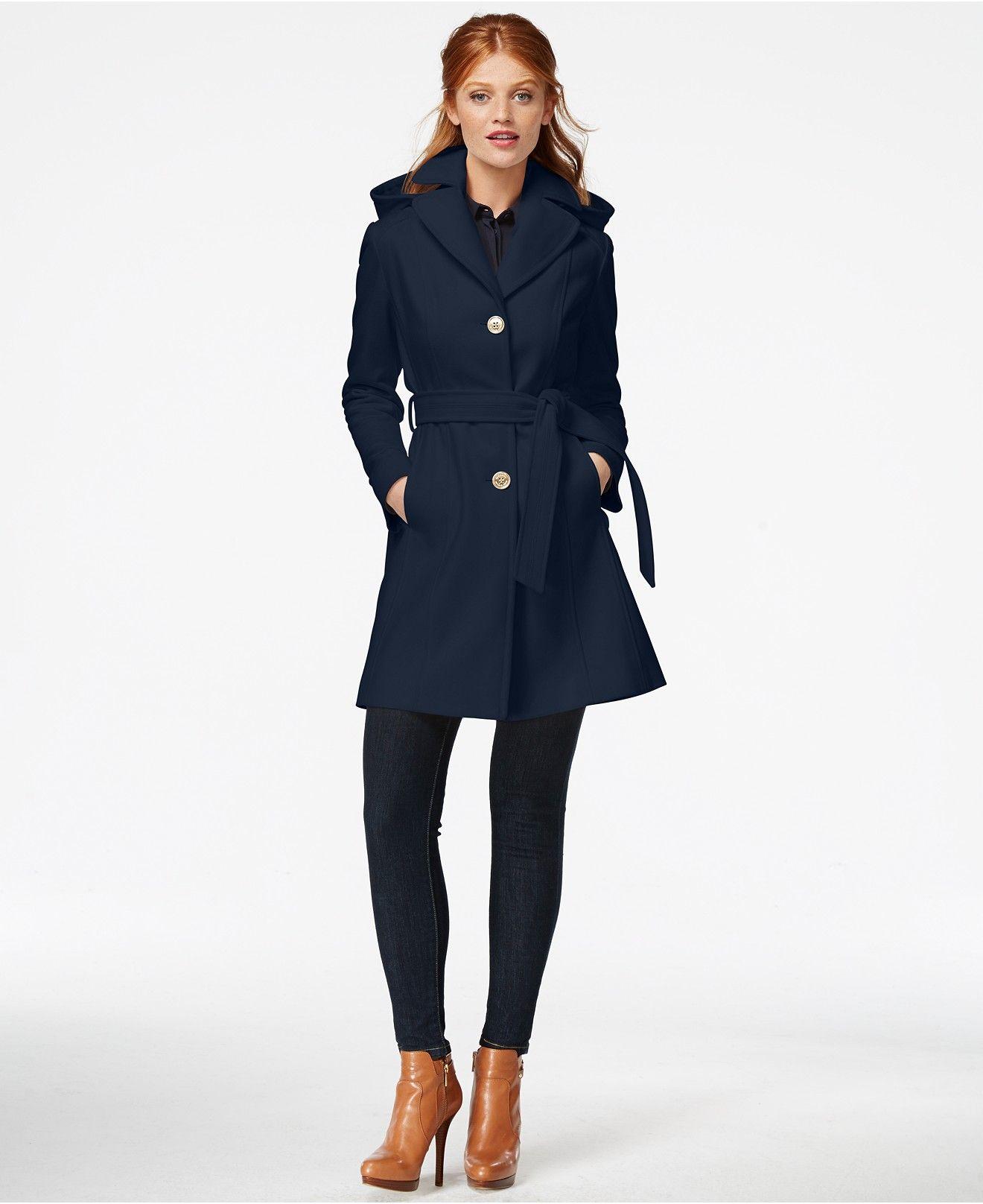 Michael Michael Kors Hooded Belted Walker Coat Coats Women Macy S Coats For Women Fashion Coat [ 1616 x 1320 Pixel ]