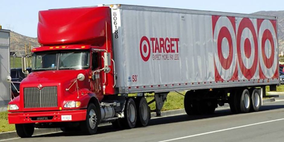 A Red And White Semi Truck With Target S Bullseye Logo Paris Texas Social Responsibility Red And White