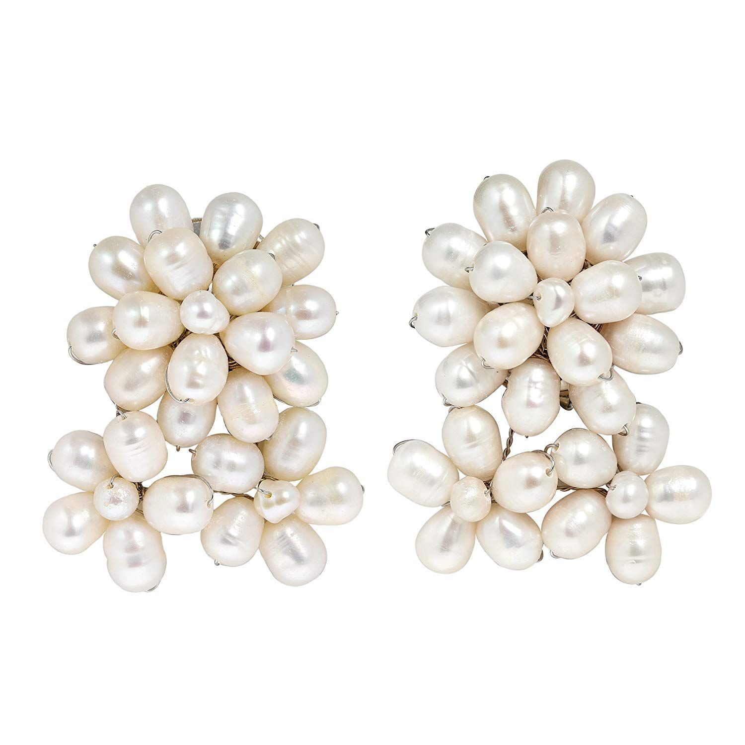b3e7fc5b7 Blooming Floral Romance Cultured Freshwater White Pearl Clip On Earrings --  Thank you for viewing our picture. (This is an affiliate link)  #cliponsearrings