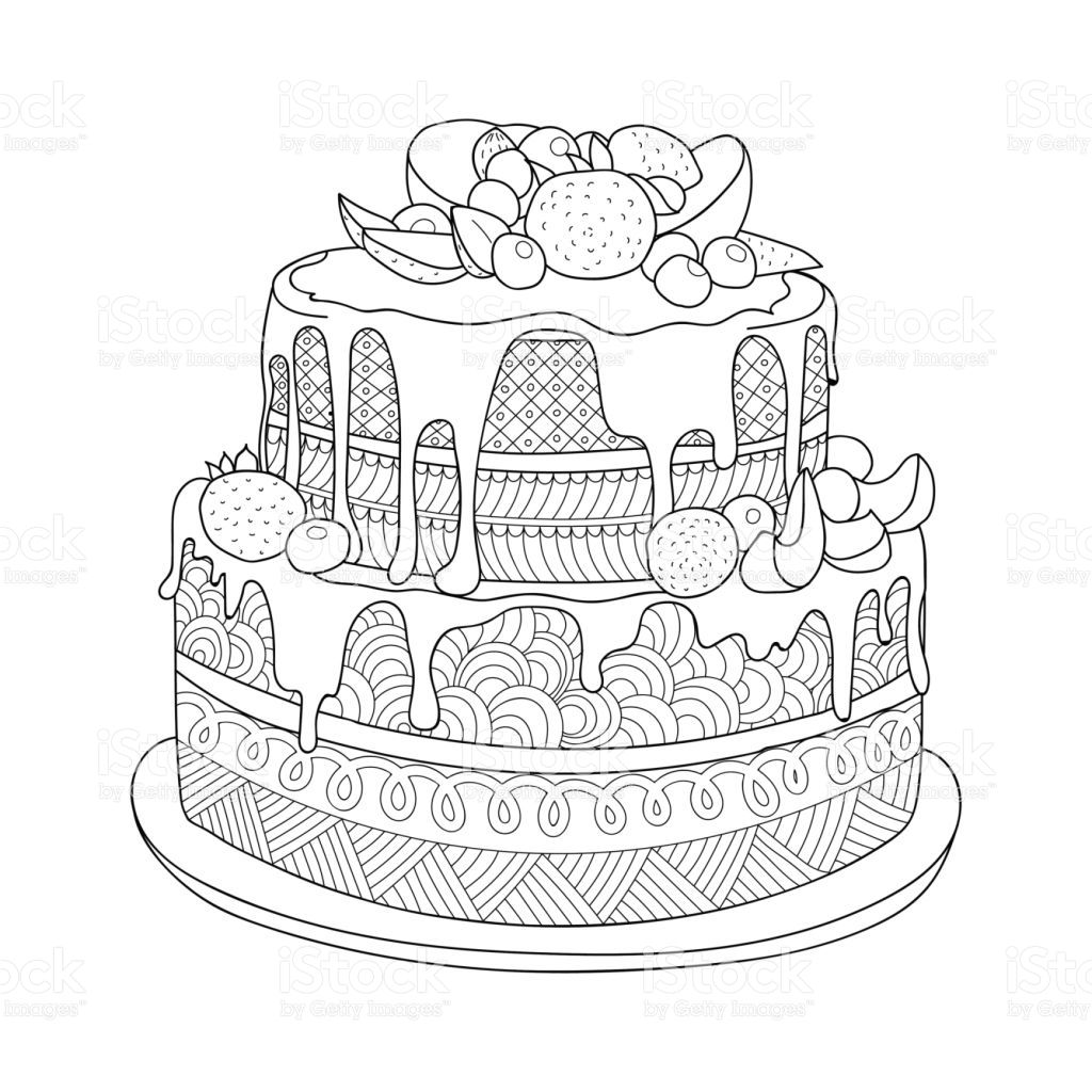 Hand Drawn Doodle Cake With Berries For Coloring Book For Adults