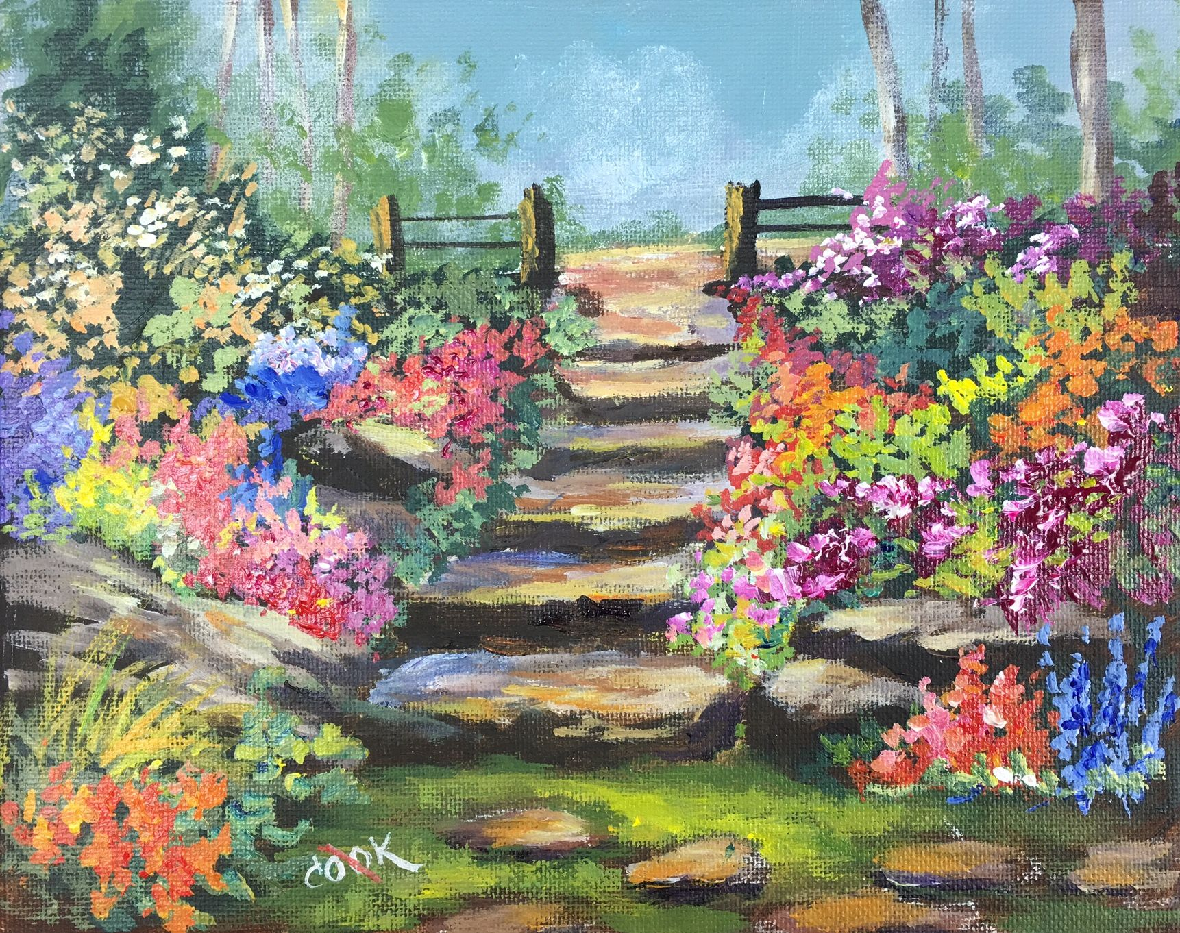 24 x 20 Original Acrylic Painting of Garden Path
