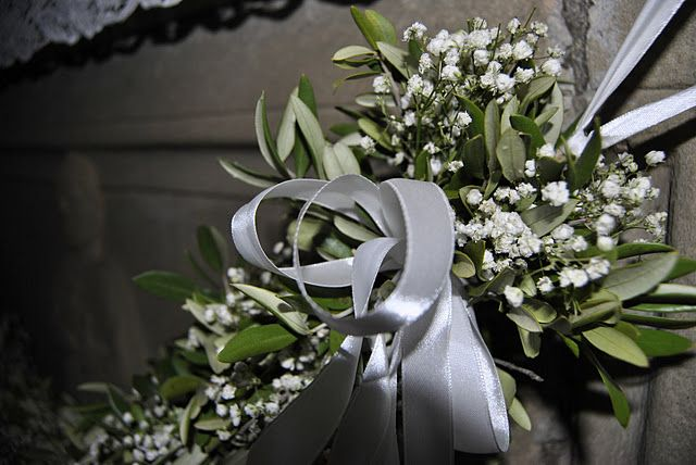 Baby S Breath And Olive Leaves Olive Green Weddings Olive Branch Wedding October Wedding Flowers