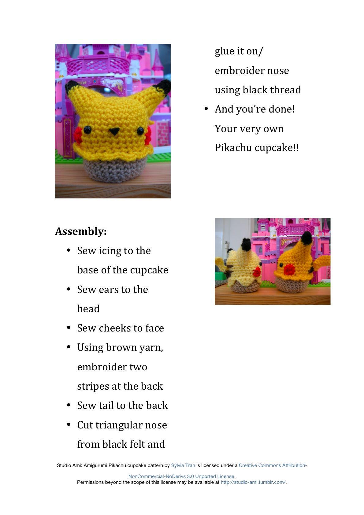 Amigurumi Pikachu Cupcake Pattern~ As promised, this is my pattern ...