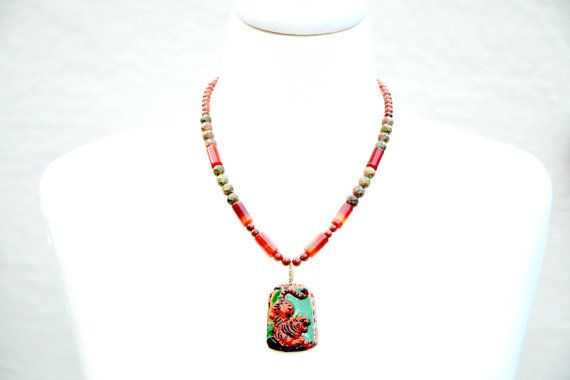 Check out Red Tiger Necklace. Chinese Zodiac Tiger Necklace. Carved Gemstone Tiger Necklace. Powerful Tiger King Talisman Necklace. Zodiac Jewelry on flashinfashinjewelry