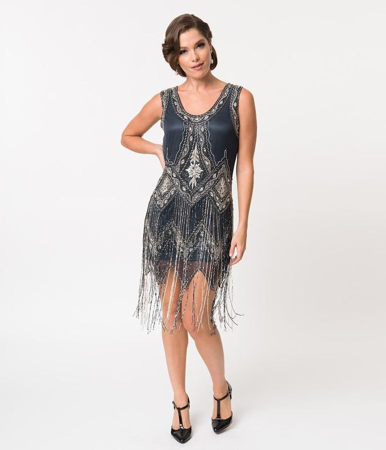 3ccfd681053 Steel Grey   Silver Beaded Fringe Sexy Cocktail Flapper Dress