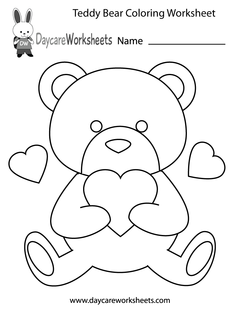 Preschoolers can color in a teddy bear holding a heart in ...