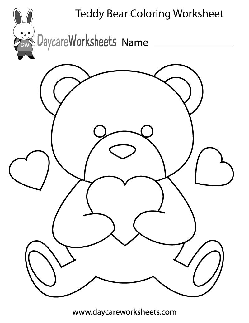 Free Preschool Teddy Bear Coloring Worksheet Teddy Bear Coloring Pages Bear Coloring Pages Heart Coloring Pages
