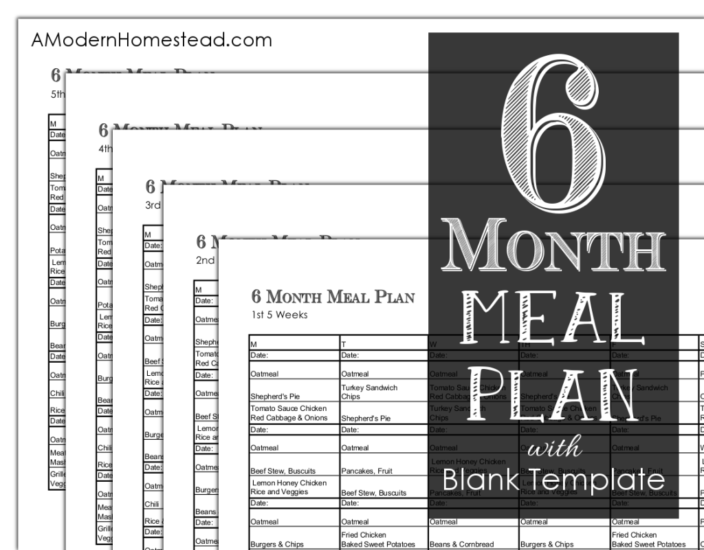 6 Month Meal Plan with Blank Template so that you can make your own ...