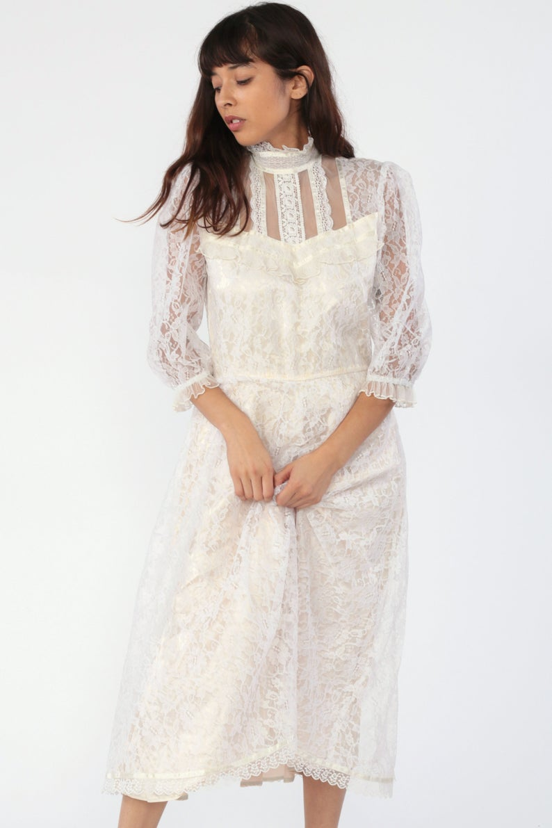 Victorian Wedding Dress 80s Gunne Sax Dress White Lace