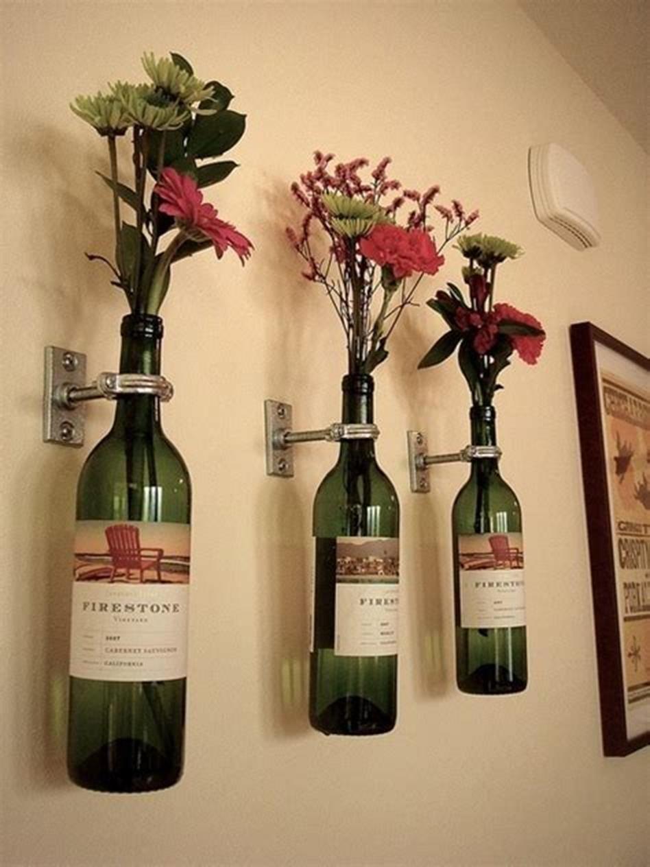 50 Diy Creative Bottle Wall Vase Arrangements Ideas Homeandcraft Wine Bottle Wall Wine Bottle Vases Wine Bottle Flowers