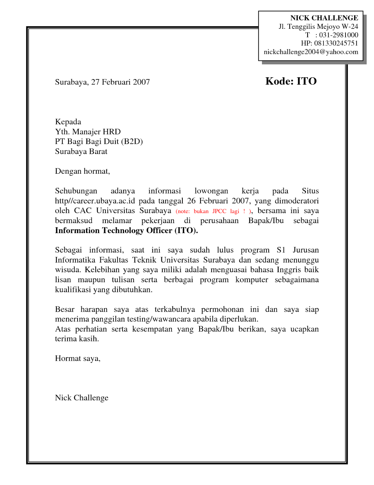 Contoh Surat Lamaran Kerja Pdf Ben Jobs Pdf Application