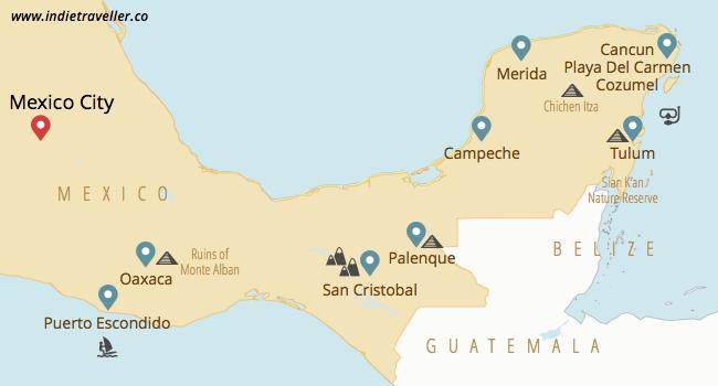 mexico yucatan and oaxaca travel map