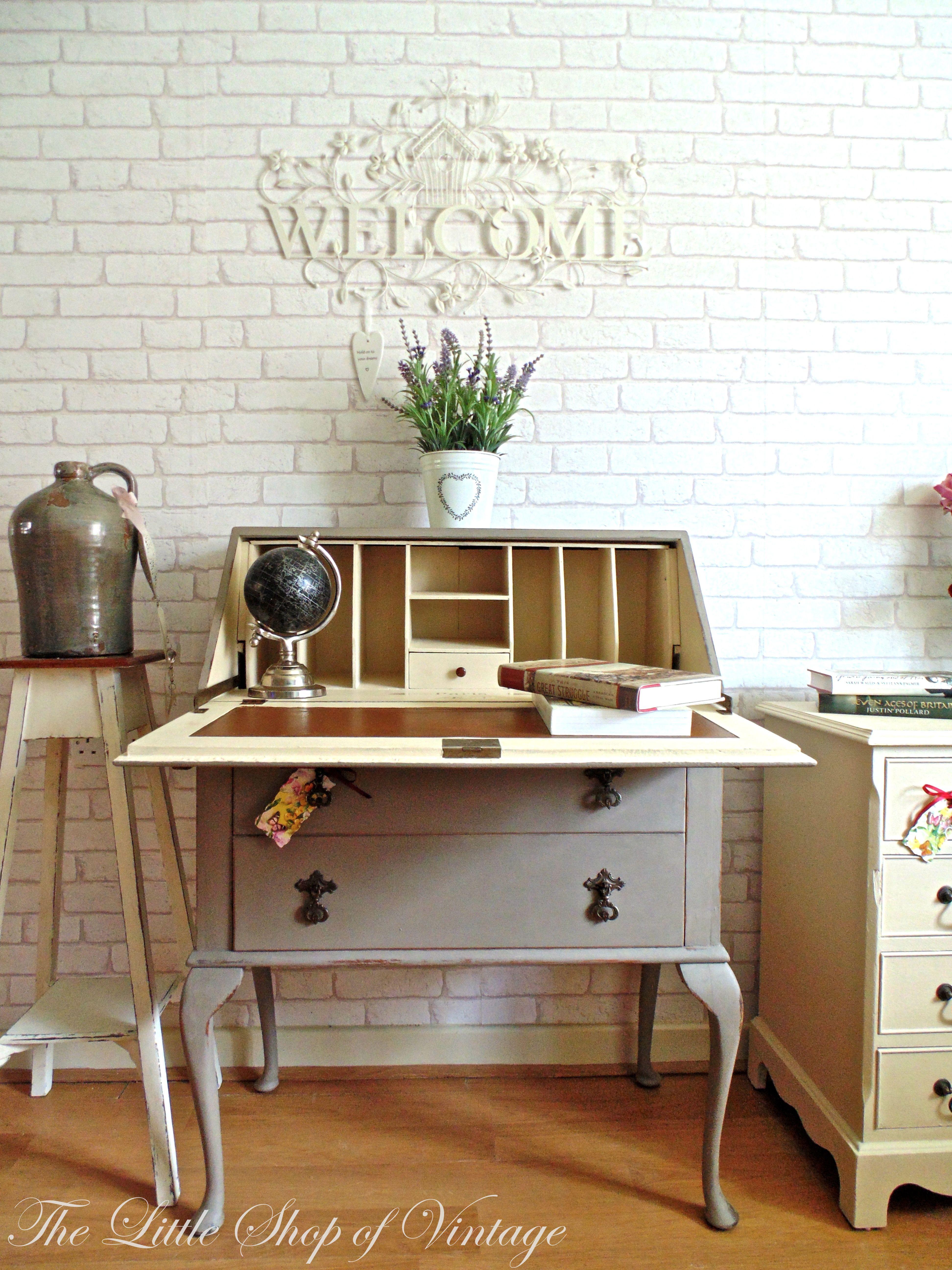 Preloved Bedroom Furniture Hand Painted Writing Bureau Decoupage Interior Chalk Paint