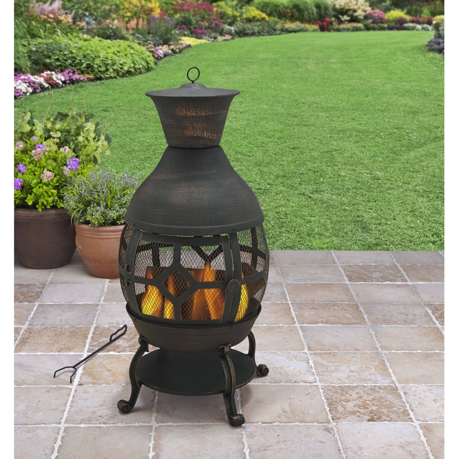 Good Cast Iron Chiminea Outdoor Fireplace Fire Pit Antique Bronze W/ Poker And  Cover
