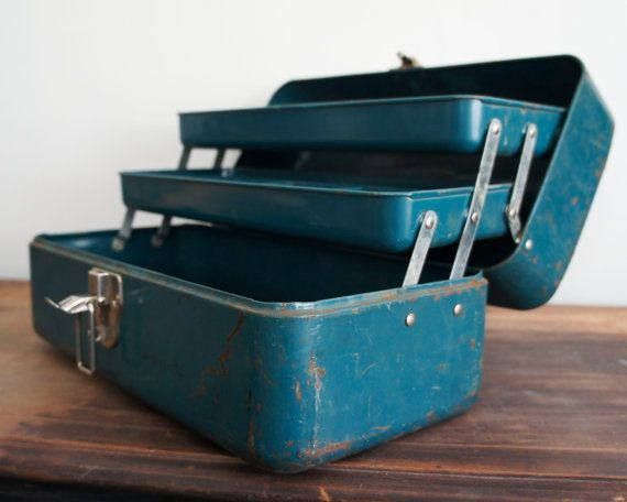 Vintage Teal Fishing Tackle Box Fishing Tackle Box