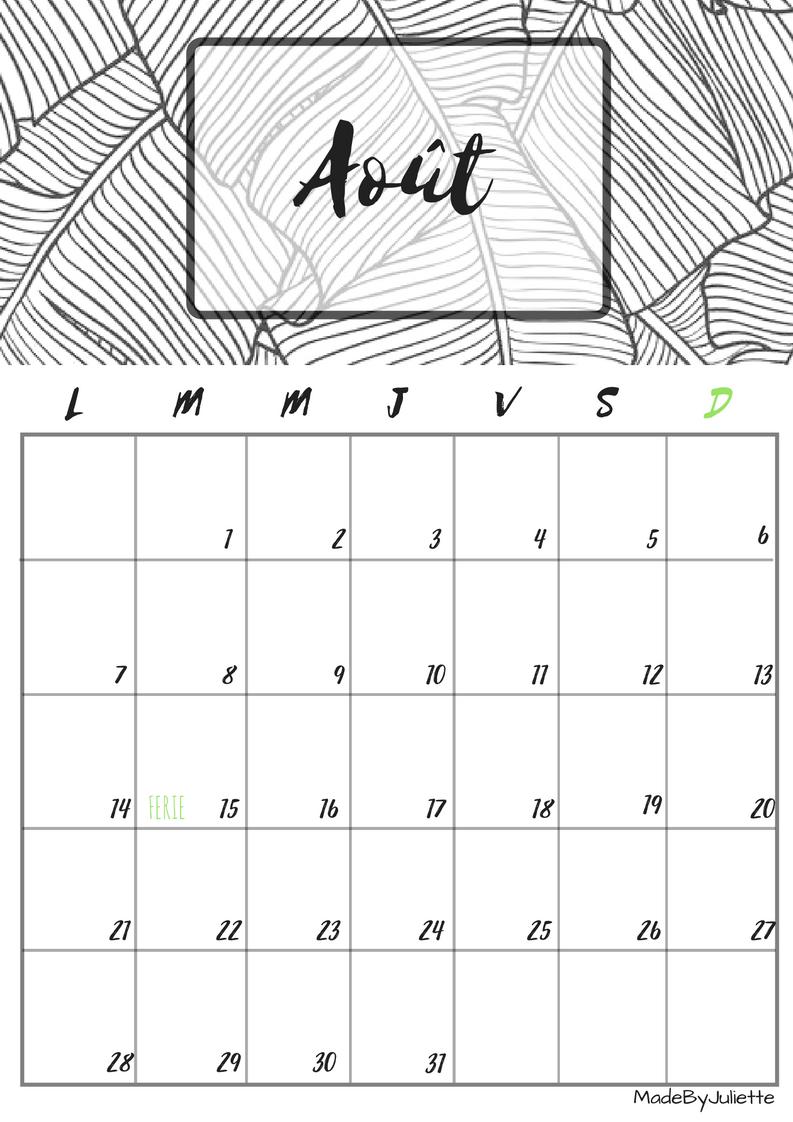 calendrier aout 2017 imprimes le calendrier pour customiser ton agenda a voir ma vid o. Black Bedroom Furniture Sets. Home Design Ideas