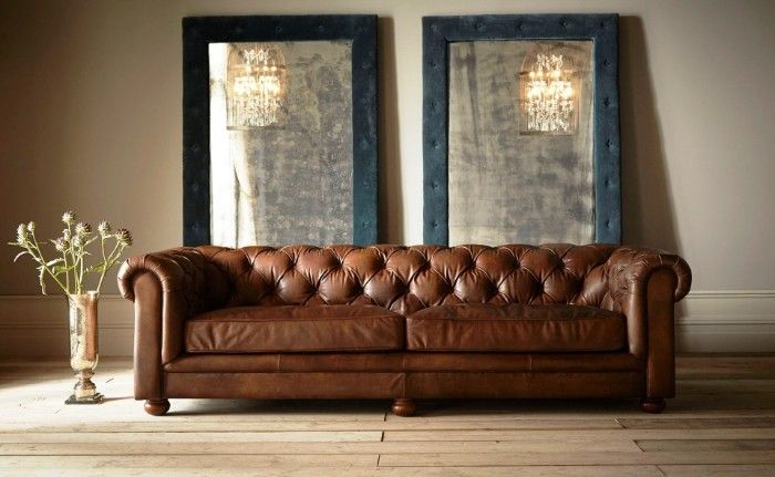 Chester 3 Seat Sofa   Button Back, Rolled Arm Leather Sofa