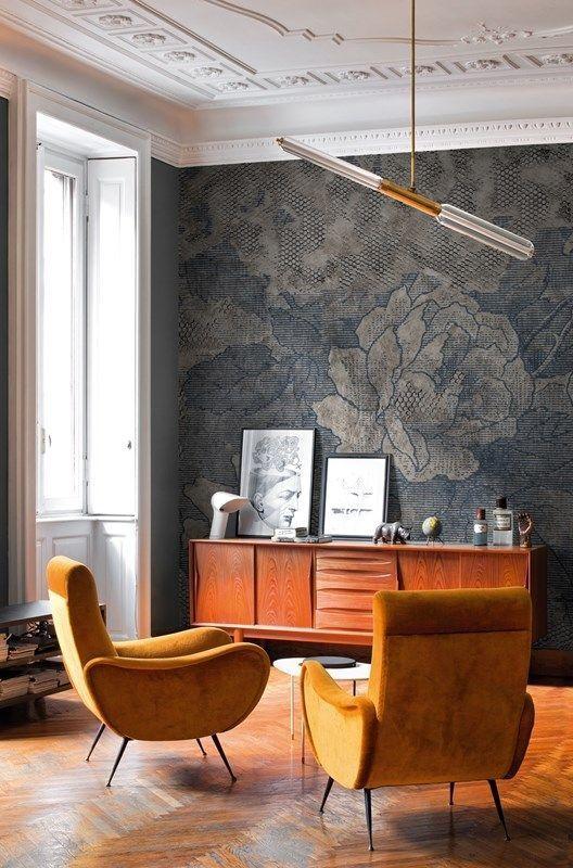 wohnzimmer mit oranger und blauer einrichtung wohnzimmer. Black Bedroom Furniture Sets. Home Design Ideas