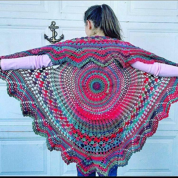 Bohemian Knitting Patterns : Circle Vest - -Bohemian Vest - Hippie Vest done in Red Heart unforgettable - ...