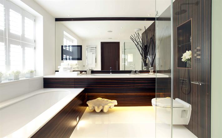 Download Wallpapers Bathroom 4k Brown Design Modern Apartment Interior Idea Modern Design Besthqwallpapers Com House Design Kitchen Modern Interior Decor Kitchen Interior Design Modern