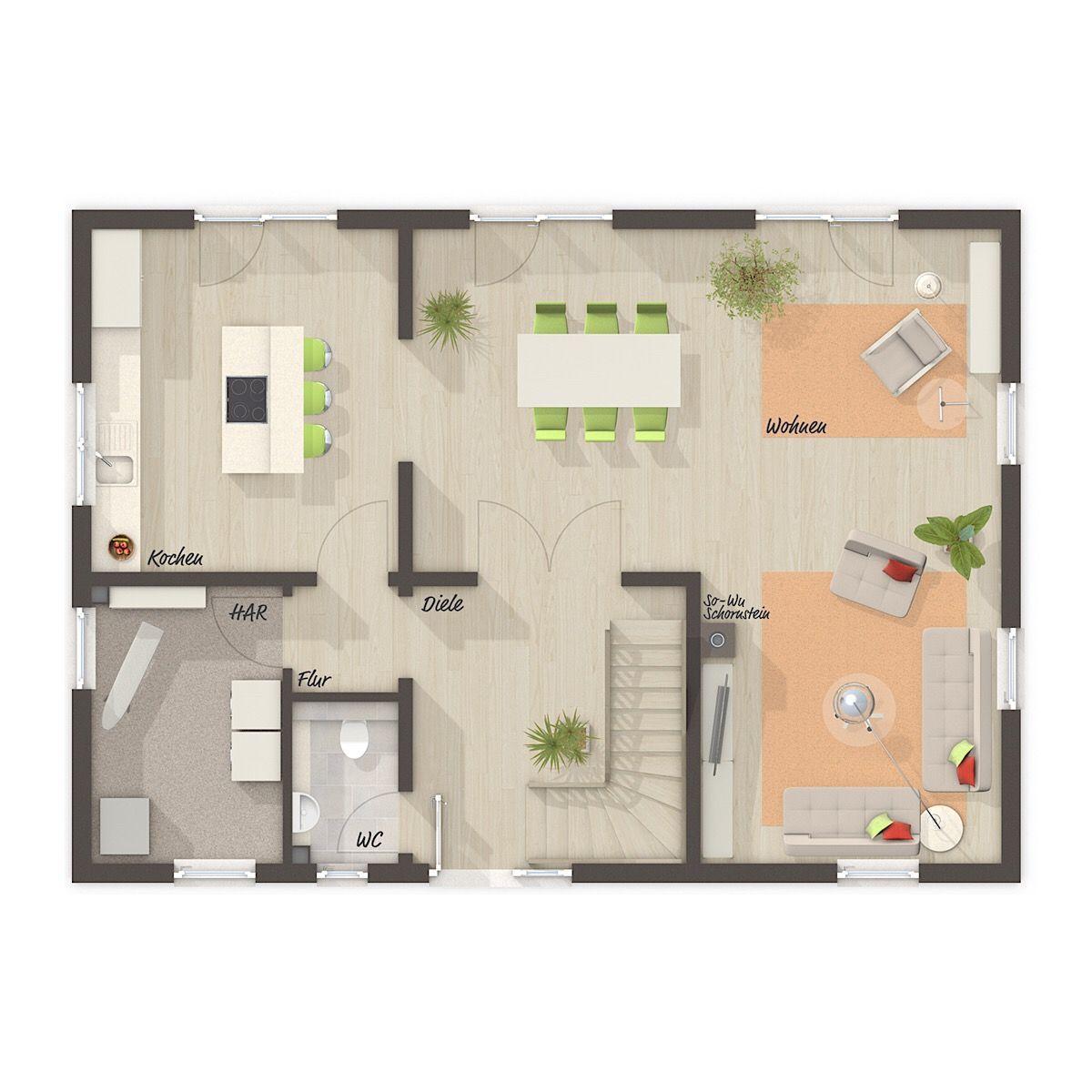 Massivhaus Grundriss Erdgeschoss rechteckig, auf Wunsch
