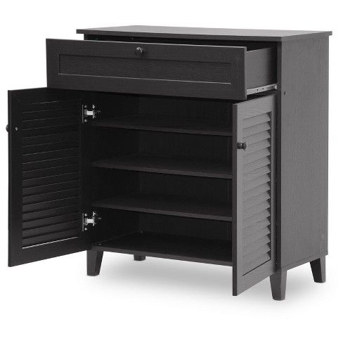 Calvin Shoe Storage Cabinet Espresso Baxton Studio Wood